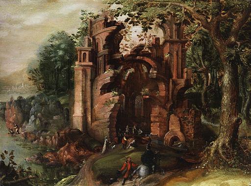 Jacob Grimmer (attr) Ruine in Waldlandschaft
