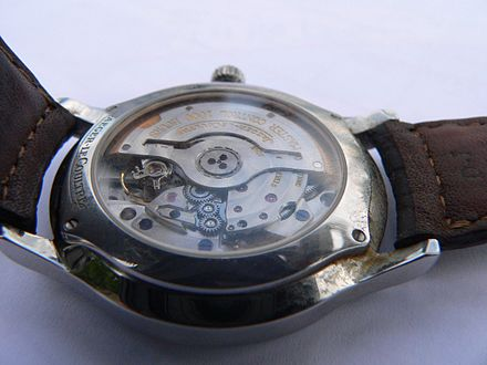 Automatic watch: An eccentric weight, called a rotor, swings with the movement of the wearer's body and winds the spring Jaeger-Lecoultre-p1000838.jpg
