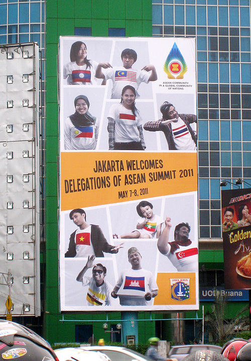 A billboard in Jakarta welcoming delegates for the 2011 ASEAN Summit - Association of Southeast Asian Nations
