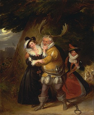 "Falstaff - Falstaff at Herne's Oak, from ""The Merry Wives of Windsor,"" Act V, Scene v, James Stephanoff, 1832"