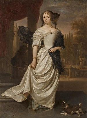 Johan de la Faille - Portrait of Margaretha Delff, Wife of Johan de la Faille by Jan Verkolje
