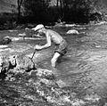 Janez Mišmaš dviguje z železnim drogom odžagani kamen, Male Rebrce 1957.jpg