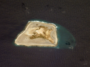 Jarvis Island - NASA satphoto of Jarvis Island; note the submerged reef beyond the eastern end.