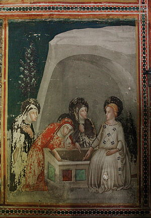 Ferrer Bassa - The Three Women at the Tomb of Jesus by Bassa, in the Monastery of Pedralbes, Barcelona.