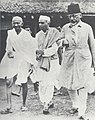 Jawaharlal Nehru with Mahatma Gandhi and Abul Kalam Azad, Wardha, August 1935.jpg