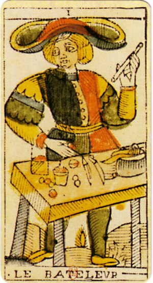 Tarot - Le Bateleur: The Juggler from the Jean Dodal Tarot of Marseilles. This card is often named The Magician in modern English language tarots