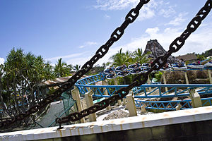 Jet Rescue - One of the trains entering the final turn before the brake run.