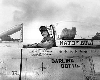 John F. Bolt U.S. Marine Corps ace of World War II and the Korean War; Navy Cross and Distinguished Flying Cross recipient; only U.S. Marine Corps jet aircraft flying ace
