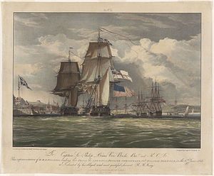 Maritime flag - USS ''Chesapeake'' flying Stars and Stripes below White Ensign after her capture by HMS ''Shannon''