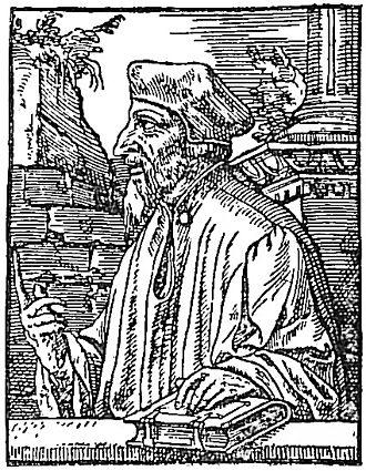 John Wycliffe - John Wycliffe portrayed in Bale's Scriptor Majoris Britanniæ 1548.
