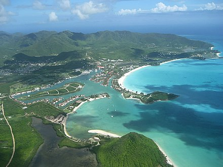 Aerial view of Jolly Harbour on the western coast of Antigua. Jolly Harbour.jpg