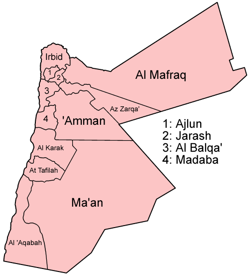 Jordan governorates named