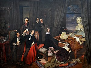 "Franz Liszt Fantasizing at the Piano (1840), by Danhauser, commissioned by Conrad Graf. The imagined gathering shows seated Alfred de Musset or Alexandre Dumas, George Sand, Franz Liszt, Marie d'Agoult; standing Hector Berlioz or Victor Hugo, Niccolò Paganini, Gioachino Rossini; a bust of Beethoven on the grand piano (a ""Graf""), a portrait of Lord Byron on the wall, and a statue of Joan of Arc on the far left.[42][43][44] (Source: Wikimedia)"