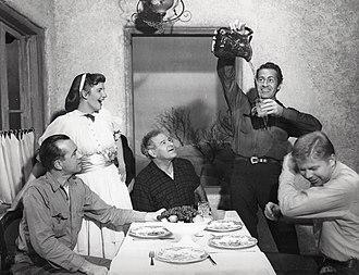 Darren McGavin - Joseph Sullivan, Geraldine Page, Cameron Prud'homme, McGavin, and Albert Salmi in the Broadway production of The Rainmaker (1954)
