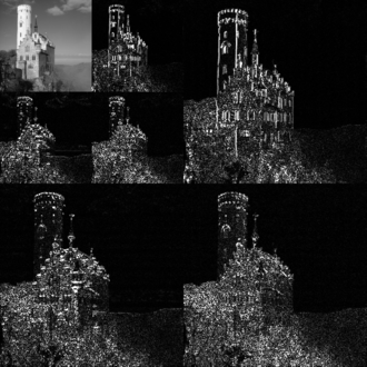 Digital signal processing - An example of the 2D discrete wavelet transform that is used in JPEG2000. The original image is high-pass filtered, yielding the three large images, each describing local changes in brightness (details) in the original image. It is then low-pass filtered and downscaled, yielding an approximation image; this image is high-pass filtered to produce the three smaller detail images, and low-pass filtered to produce the final approximation image in the upper-left.