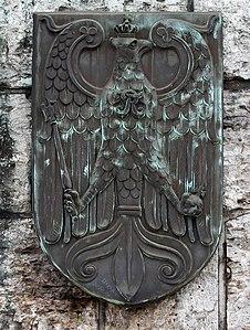 Köln Hohenzollernbrücke Reichsadler am Denkmal Friedrichs III.jpg