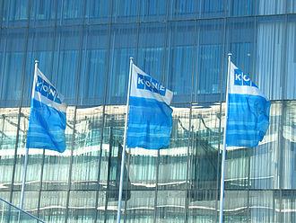 Kone - Flags at Kone corporate headquarters, built in 2001 in Keilaniemi, Espoo, Finland (photo 2003).