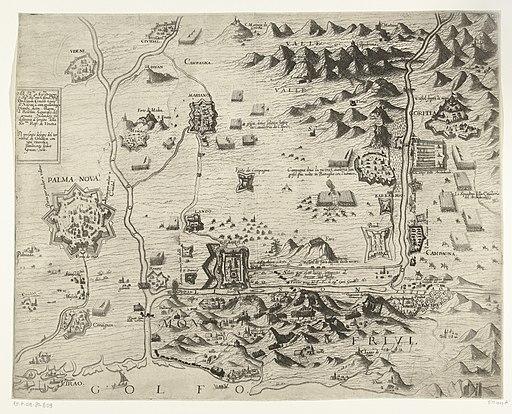 Kaart van het beleg van de vesting Gradisca, 1616, RP-P-OB-80.809