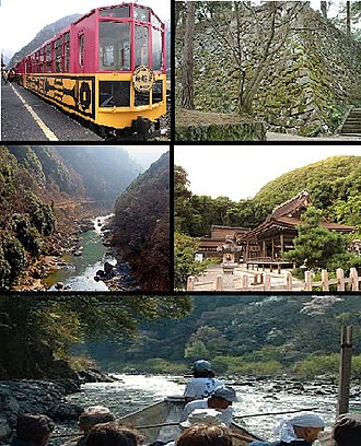 Kameoka, Kyoto - Top left: A sightseeing train at Sagano Sightseeing Line, Top right: Kameoka Castle site, Middle left: Hozu Valley, Middle right:Kameoka Izumo Shrine, Bottom: A sightseeing boat at Hozu Valley
