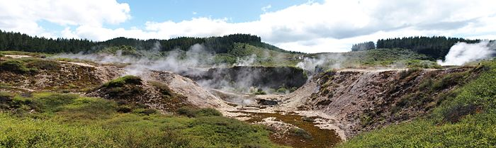 Crater with steaming ground and fumaroles