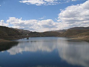 Lesotho Highlands Water Project - Katse Dam reservoir and intake tower