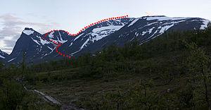 Kebnekaise - Image: Kebnekaise western passage JS90