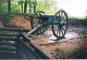 Cannon on Kennesaw Mountain in recreated artil...