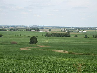 Stephenson County, Illinois - A northerly look across Stephenson County's western edge from an overlook near Kent