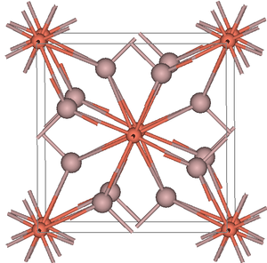 Khatyrkite - Khatyrkite viewed close to the tetragonal axis. Red balls are copper atoms.
