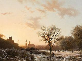 Winterlandschap, gezicht op Kleef