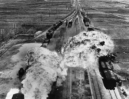 U.S. Air Force attacking railroads south of Wonsan on the eastern coast of North Korea Korean War, train attack.jpg