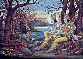 Krishna orders Mayasura to build a palace for the Pandavas.jpg