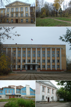 Left to right, top to bottom: Kudymkar Town Administration building, Park of Culture and Leisure; Ministry of Komi-Permyak Okrug Affairs; Komi-Permyak Okrug Theater of Drama, Komi-Permyak Museum of local lore
