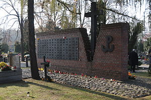 Jerzy Zakulski - Monument at the Powązki Cemetery featuring the commemorative plaque to Jerzy Zakulski on the mass grave of Cursed soldiers executed in Stalinist Poland in 1945–1956