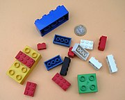 Toys with small pieces, such as these Lego, elements are required by law to have warnings about choking hazards in some countries.