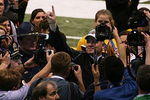 Les Miles - Miles celebrates his team's victory in the 2008 BCS National Championship Game.