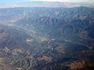 Crescenta Valley - The Crescenta Valley with the Verdugo Mountains to the left, San Gabriel Mountains to the top, and the Mojave Desert to the very top and top right.