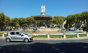 Roundabout - A fountain dominates this roundabout in Aix-en-Provence, France