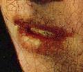 La jeune fille à la perle - Vermeer - détail de la bouche avant restauration.png