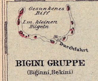 Bikini Atoll - Map of Bikini Atoll, taken from the 1893 map Schutzgebiet der Marshall Inseln, published in 1897.