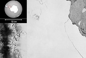 Iceberg A-68 - Image: Larsen C breaks