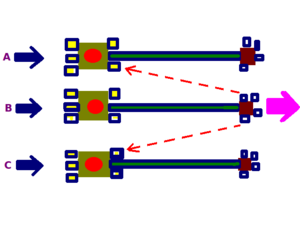 Lateral inhibition - A stimulus affecting all three neurons, but which affects B strongest or first, can be sharpened if B sends lateral signals to neighbors A and C not to fire, thereby inhibiting them. Lateral inhibition is used in vision to sharpen signals to the brain (pink arrow).