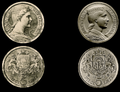 Latvian coin, 5 Lati, 1929, original draft by Rihards Zariņš (left) and plaster form by Percy Metcalfe (right).png