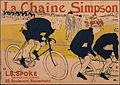 Lautrec poster, Huret using a Simpson chain behind the Gladiator tandem pacer at Velodrome de la Seine circa 1890.jpg