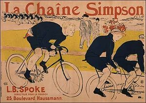 Adolphe Clément-Bayard - Henri de Toulouse-Lautrec publicity poster from the 1890s, Constant Huret riding with a Simpson chain behind the Gladiator tandem pacer at the Velodrome de la Seine.
