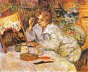 An 1889 Henri de Toulouse-Lautrec painting of a woman applying cosmetics to her face