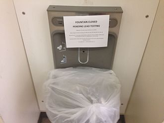 Portland Public Schools (Oregon) - Water fountain at Jefferson High School with sign saying it is closed for lead testing