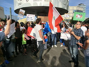 Lebanese people in Germany - Lebanese people in Germany express their support of the 2015 Lebanese protests in Berlin at Alexanderplatz, August 29, 2015