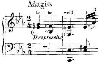 """Piano Sonata No. 26 (Beethoven) -  First two bars of the piece, indicating the syllables """"Le - be wohl"""" over the three-note theme"""