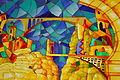 Les Ponts Suspendus de Constantine, huile et vernis sur verre.JPG
